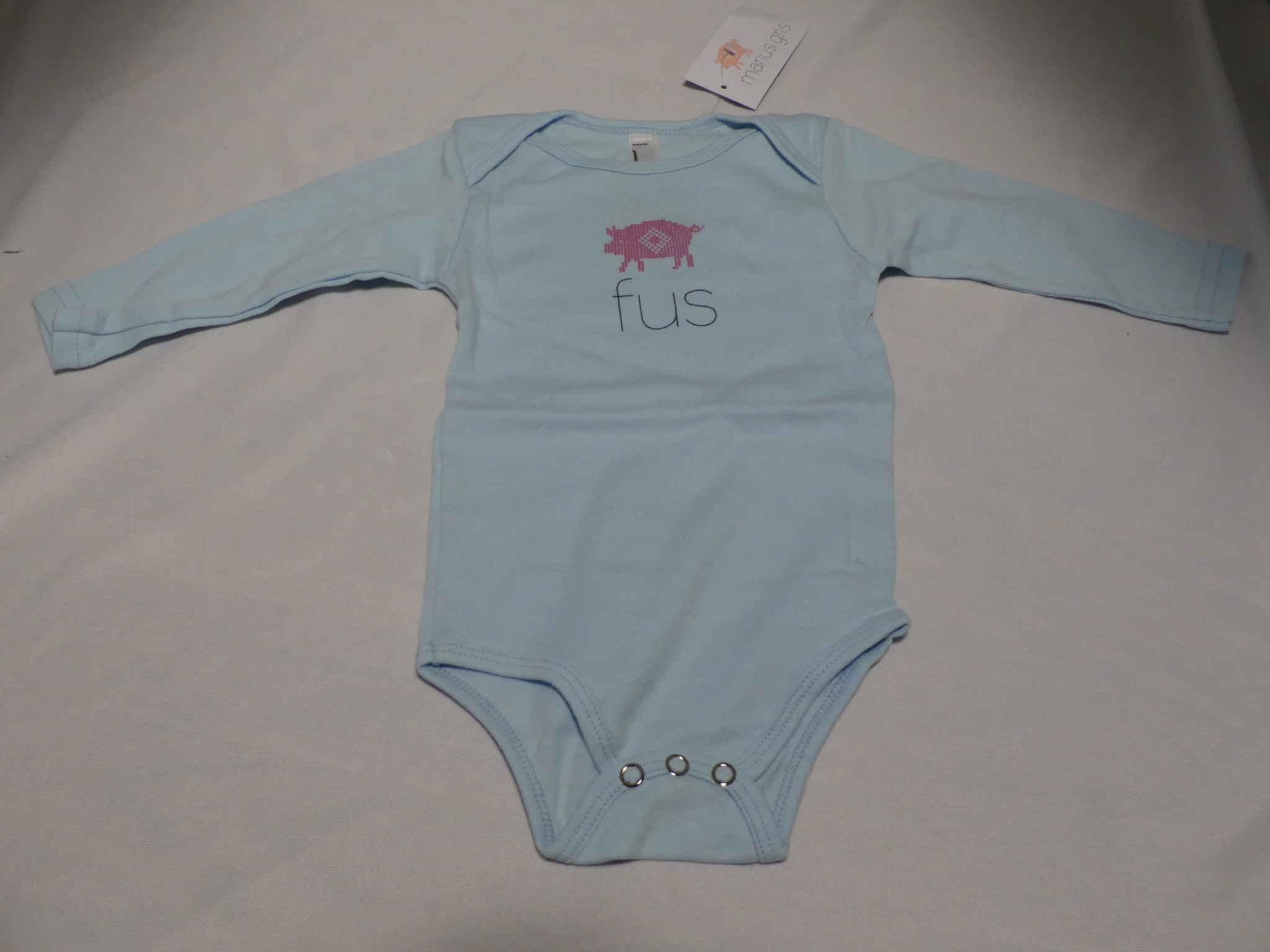 Fus body baby 6-12 mnd. (lys blå)